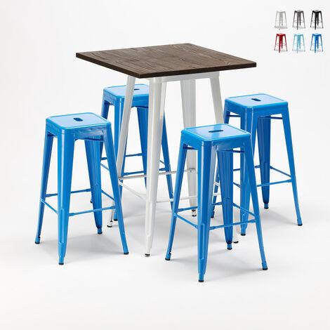 Ensemble de table haute et 4 tabourets métalliques Tolix style innovant Harlem pour Bars et Pubs