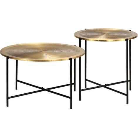 Ensemble de tables 2 pcs MDF recouvert de laiton