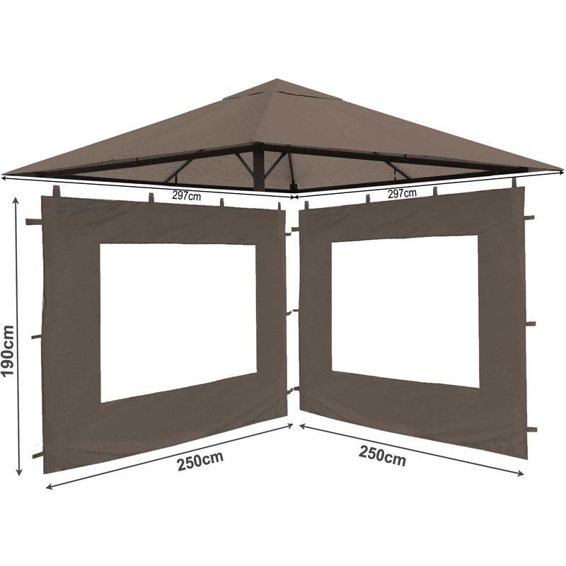 Ensemble de toit de remplacement et 2 pièces latérales pour pavillon de jardin 3x3m Beige-gris antique pavillon couverture de remplacement couvercle