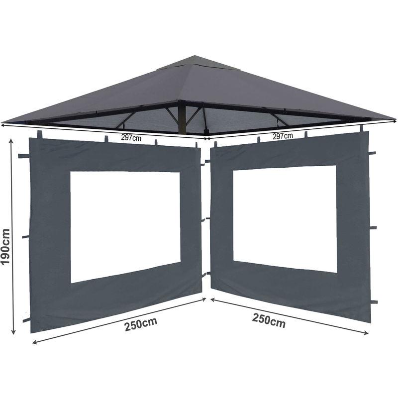 Ensemble de toit de remplacement et 2 pièces latérales pour pavillon de jardin 3x3m Gris antique pavillon couverture de remplacement couvercle parois