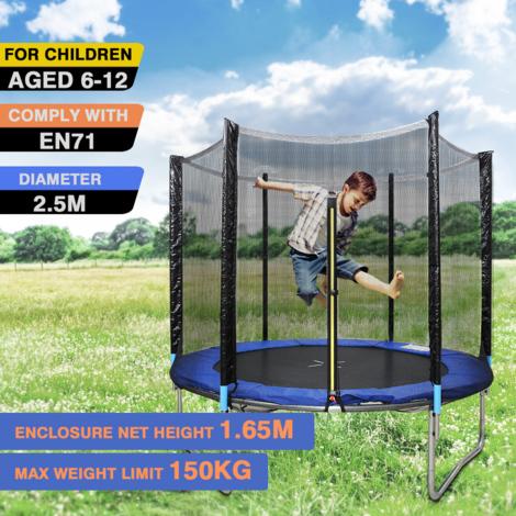 Ensemble de trampoline pour enfants Finether 2.5m et boîtier, rebondisseur à montage facile avec filet de sécurité, trampoline d'extérieur pour cour arrière avec 6 poteaux rembourrés pour l'entraînement à l'équilibre physique