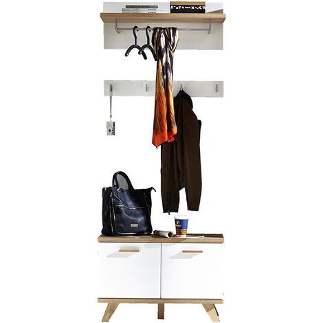 Ensemble d'entrée avec armoire coloris chêne / blanc - Dim : L 76 x H 200 x P 35 cm -PEGANE-
