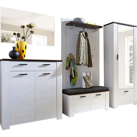 Ensemble d'entrée avec armoire coloris mélèze repro/chêne - Dim : L 200 x H 199 x P 40 cm -PEGANE-