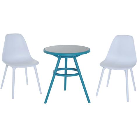 Ensemble design de jardin style néo-rétro 2 chaises et table ronde ...