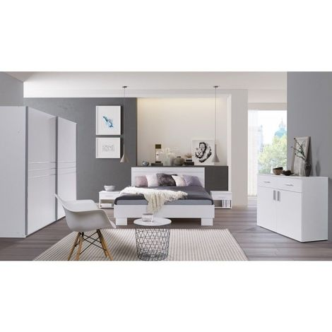 Ensemble design pour chambre à coucher COMO. Lit 160X200 cm avec sommier + tables de chevet. - Blanc
