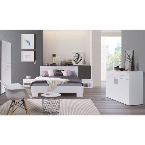 Ensemble design pour chambre à coucher COMO. Lit 160X200 cm avec sommier + tables de chevet + commode. - Blanc