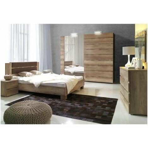 Ensemble design pour chambre à coucher ROMI. Lit avec sommier 180x200 cm, deux tables de chevet et commode. - Marron
