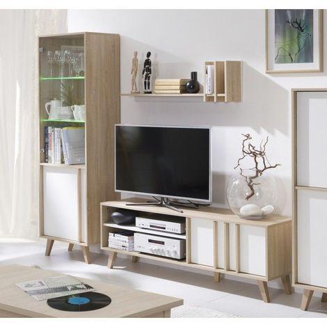 Ensemble design pour votre salon MALMO. Bibliothèque petit modèle + Meuble tv + Etagère. Meuble type scandinave - Blanc