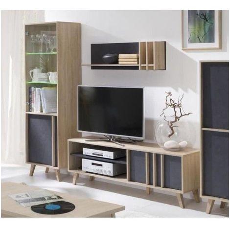 Ensemble design pour votre salon MALMO gris. Bibliothèque petit modèle + Meuble tv + Etagère. Meuble type scandinave - Gris