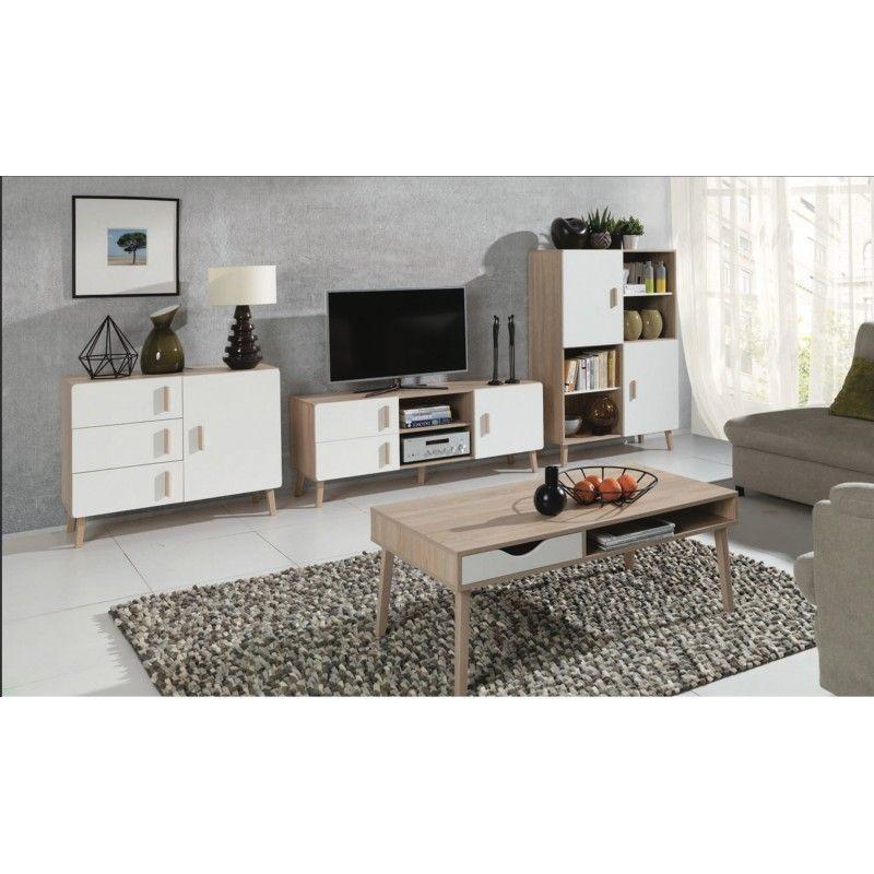 Ensemble Design Pour Votre Salon Oslo Bibliotheque Meuble Tv Table Basse Petit Buffet Meuble Type Scandinave Blanc 545