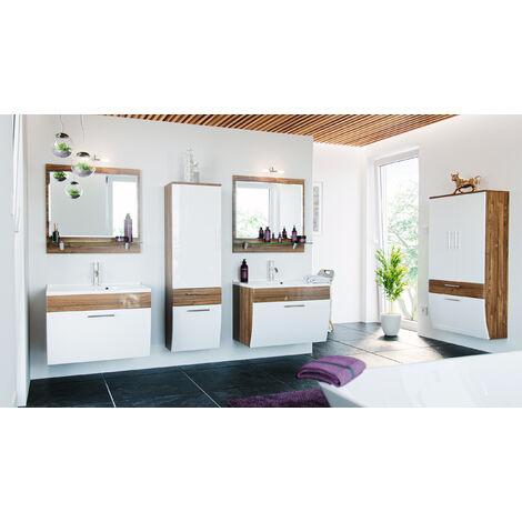 Ensemble double de meuble de salle de bain Paloma Noyer-Blanc 8-pièces