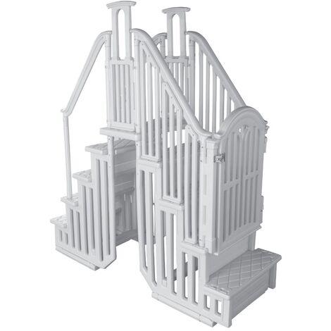 Ensemble double escalier résine intérieur et extérieur + portillon