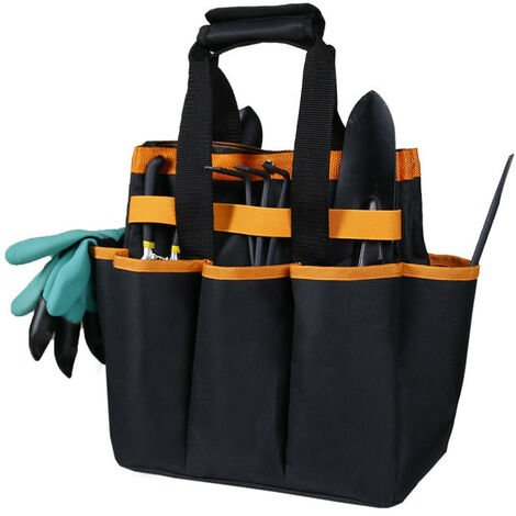 Ensemble d'outils de Jardinage et Sac fourre-Tout Organisateur avec 6 Outils de Jardinage, Trousse d'outils à Main de Jardinage avec Gants de Jardinage Jardin creusant Griffe 30.5*15.2*30.5cm (noir)