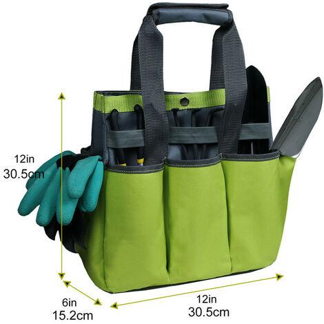 Ensemble d'outils de Jardinage et Sac fourre-Tout Organisateur avec 6 Outils de Jardinage, Trousse d'outils à Main de Jardinage avec Gants de Jardinage Jardin creusant Griffe 30.5*15.2*30.5cm (vert)