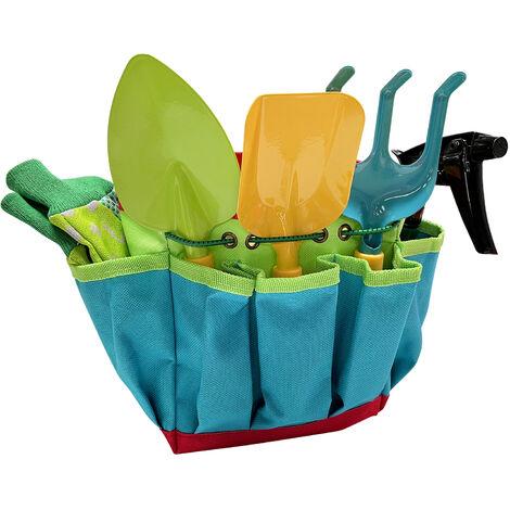 Ensemble d\'outils de jardinage pour enfants 14 pieces Kit de jardin avec sac de rangement, arrosoir, chapeau, tablier, gants Kit de jardinage robuste pour gar?ons et filles a partir de 3 ans,modele:Multicolore