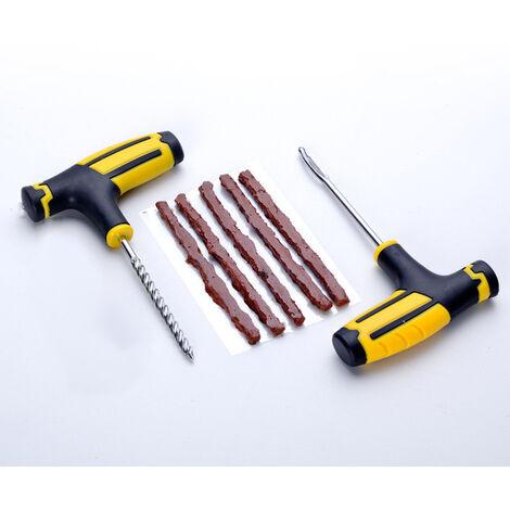 Ensemble d'outils de reparation de pneus de voiture Outil de reparation de pneus sous vide de velo de voiture Plug de crevaison de pneu Outils de garage