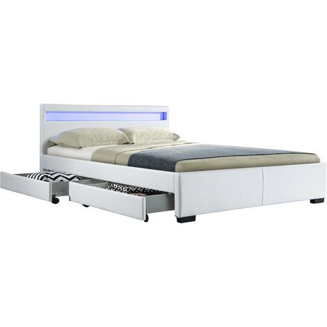 Ensemble DRAWER NIGHT LIT PU BLANC MAT A LED + 4 TIROIRS 140X190 CM + MATELAS A MeMOIRE DE FORME - Blanc