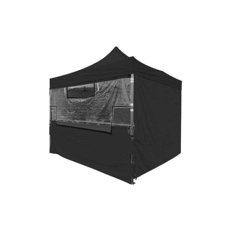 Ensemble - Écran transparent de protection en PVC 40mm + Demi-rideau inférieur polyester 300g/m² revêtement PVC pour Tente pliante SOLIDE 40mm 3x3m