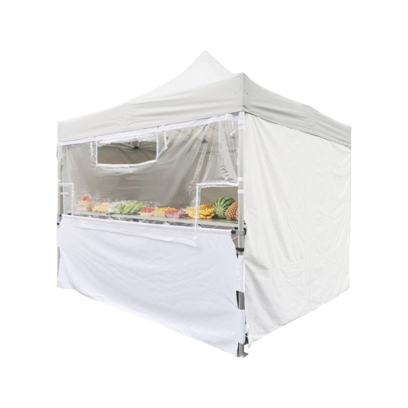 Ensemble - Écran transparent de protection en PVC 50mm + Demi-rideau inférieur polyester 300g/m² revêtement PVC pour Tente pliante PRO 50mm 3x3m