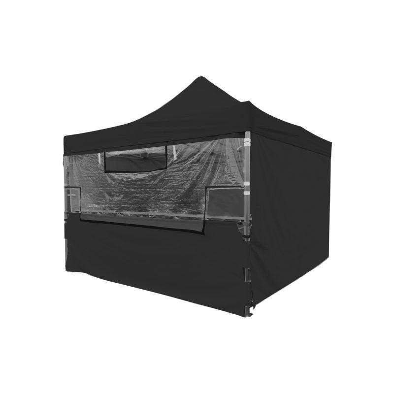 Ensemble - Écran transparent de protection en PVC 25/32mm + Demi-rideau inférieur polyester 220g/m² revêtement PVC pour Tente pliante MEDIUM 32mm