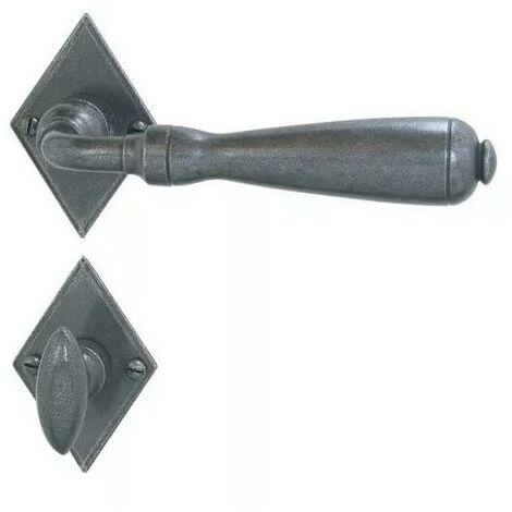 Ensemble Entraygues BRIONNE fer gris Bec de cane condamnation sur rosace 46x69x3 20125 vis 2.5x10 - ROZ-6259013FG
