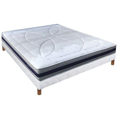 Ensemble Essenzia AEROFORM 320, Sommier Tradition et Pieds King Size 180x200 STRETCH Mousse - Blanc