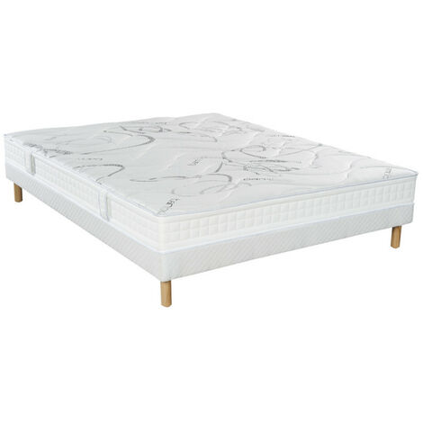 Ensemble Essenzia MORPHOZONE 170 + Sommier Tradition + Pieds 200x210 COTON ORGANIQUE Latex - Blanc