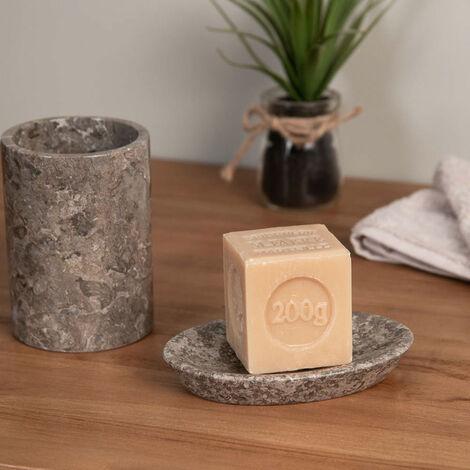 Ensemble Gobelet porte savon en marbre gris