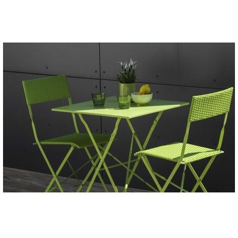 Jardin VERT MEZZO de guéridon avec 2 chaises Ensemble pliantes N8n0vmw