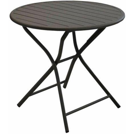 Ensemble guéridon GLOBE Ø80 cm café + 2 chaises pliantes IDA café/paprika