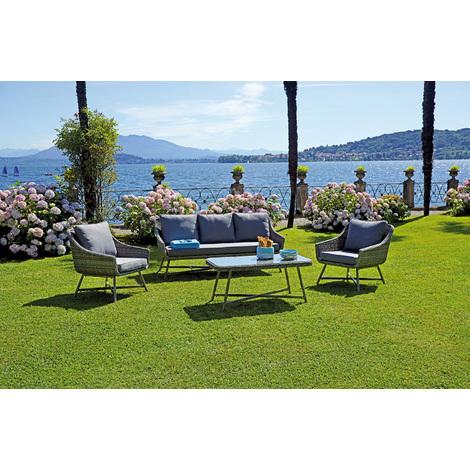 Ensemble jardin de 2 fauteuils + canapé en alu/tressage gris mélangé et  table