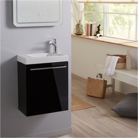 Ensemble lave mains noir brillant + lave mains hamac 3 + robinetterie eau froide