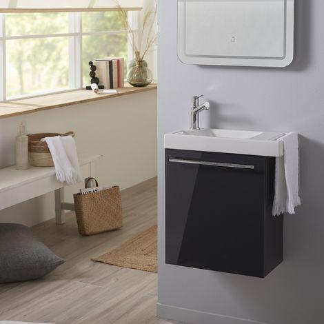 Ensemble lave-mains tout compris anthracite avec robinetterie eau froide