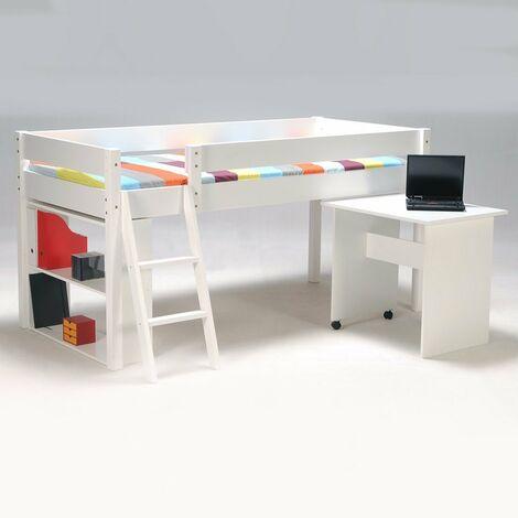 Ensemble lit mi-hauteur LAURA 90x200 + 1 sommier + bureau + étagère / Blanc/