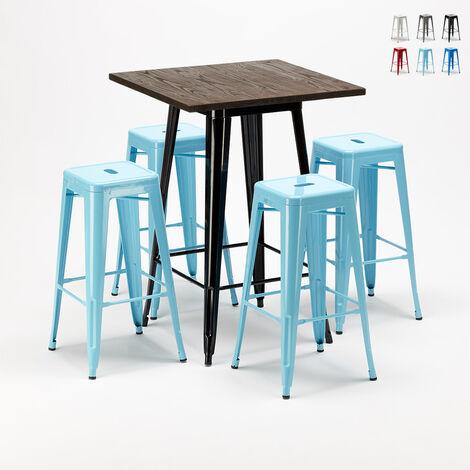 Ensemble LITTLE ITALY table haute et 4 tabourets en métal Tolix style industriel