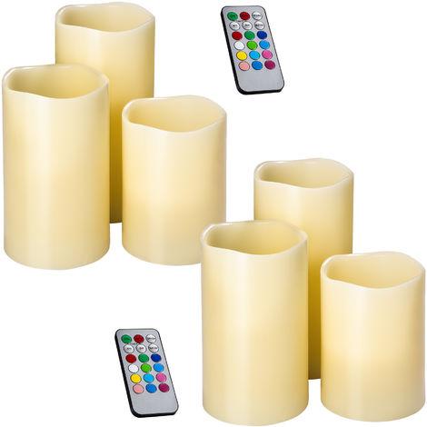 Ensemble, Lot, Set de 6 Bougies à LED d'Ambiance sans Flamme de Couleur Changeante en Cire Véritable + 2 Télécommandes