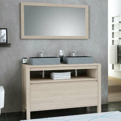 Ensemble meuble 120 cm Luna Chêne clair avec plan en bois + miroir