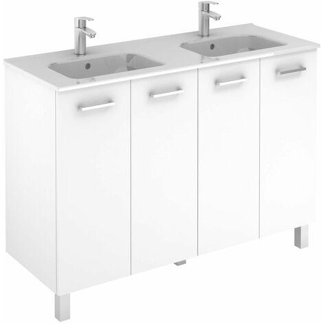 Ensemble meuble (120 cm ) SAPHIR SLIM avec portes - Modèle en 2 PORTES - 1 vasque - Lg 120 cm - Finition : Blanc