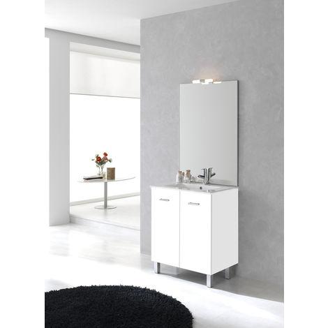 Ensemble meuble Ancoflash 2 portes sur pied - Anconetti - 80cm - Blanc brillant