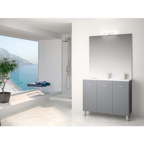 Ensemble meuble Ancoflash 3 portes sur pied - Anconetti - 100cm - Anthracite
