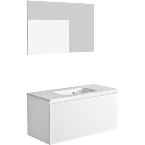 Ensemble meuble de salle de bain 100 cm Nordik blanc ultra mat et vasque en polybéton + miroir
