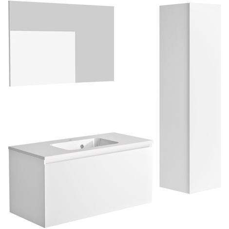Ensemble meuble de salle de bain 100 cm Nordik blanc ultra mat et vasque en polybéton + miroir + colonne 41 cm