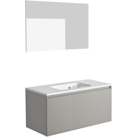 Ensemble meuble de salle de bain 100 cm Nordik gris ultra mat et vasque en polybéton + miroir