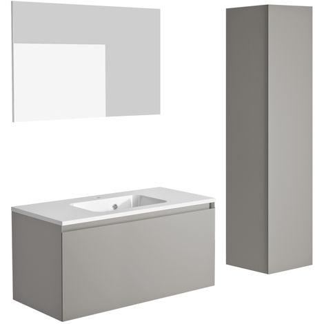 Ensemble meuble de salle de bain 100 cm Nordik gris ultra mat et vasque en polybéton + miroir + colonne 41 cm