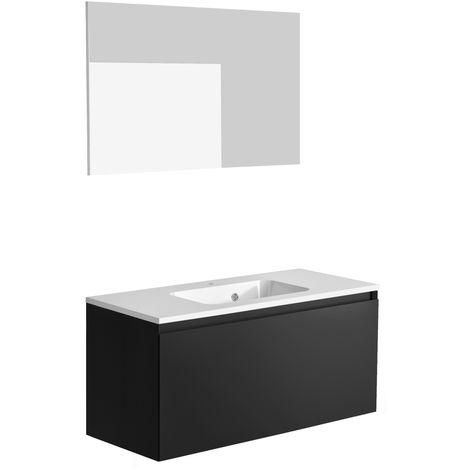 Ensemble meuble de salle de bain 100 cm Nordik noir ultra mat et vasque en polybéton + miroir
