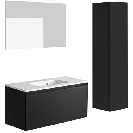 Ensemble meuble de salle de bain 100 cm Nordik noir ultra mat et vasque en polybéton + miroir + colonne 41 cm