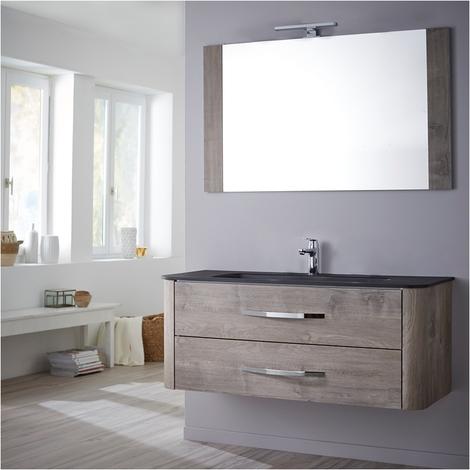 Ensemble meuble de salle de bain 80 cm Curve décor chêne grisé