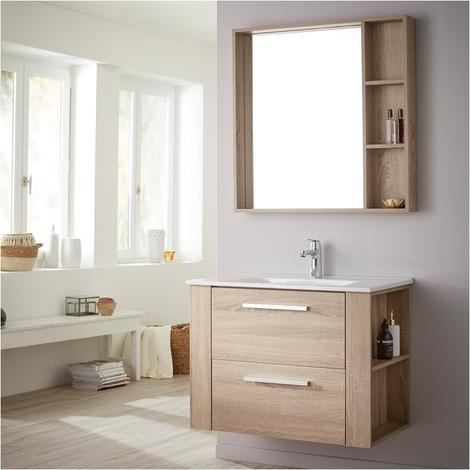 Ensemble meuble de salle de bain 80 cm + miroir couleur chêne cambrian