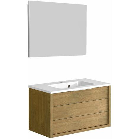 Ensemble meuble de salle de bain 80 cm Sorento Chêne Kendal huilé et plan de toilette en polybéton + miroir Deko