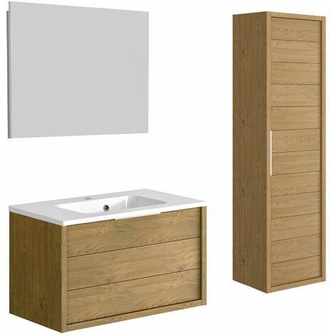 Ensemble meuble de salle de bain 80 cm Sorento Chêne Kendal huilé et plan de toilette en polybéton + miroir Deko + colonne 42,4 cm
